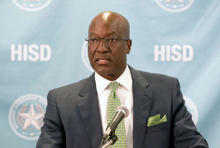 Deputy Superintendent Ken Huewitt speaks during a news conference at the Hattie Mae White Educational Support Center, Tuesday, Sept. 15, 2015, in Houston. Two HISD students died earlier in the day in a crash involving a school bus. (Cody Duty / Houston Chronicle)