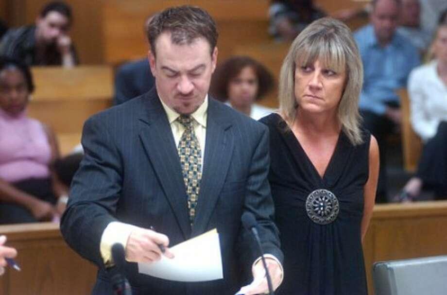 Photo/Alex von Kleydorff. Attorney Gene Zingaro represents Heidi Spinola in Norwalk Court having been charged with serving alcohol to minors in her Wilton home.
