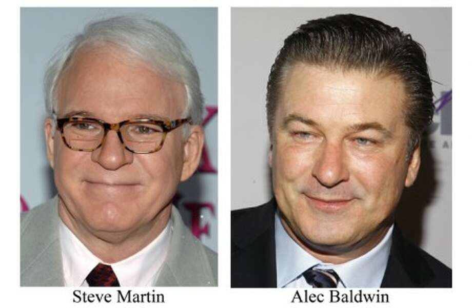 In this combo made from 2009 file photos shows actor Steve Martin, left, and Alec Baldwin who will co-host the Oscars. (AP Photo/Peter Kramer and Andy Kropa File)