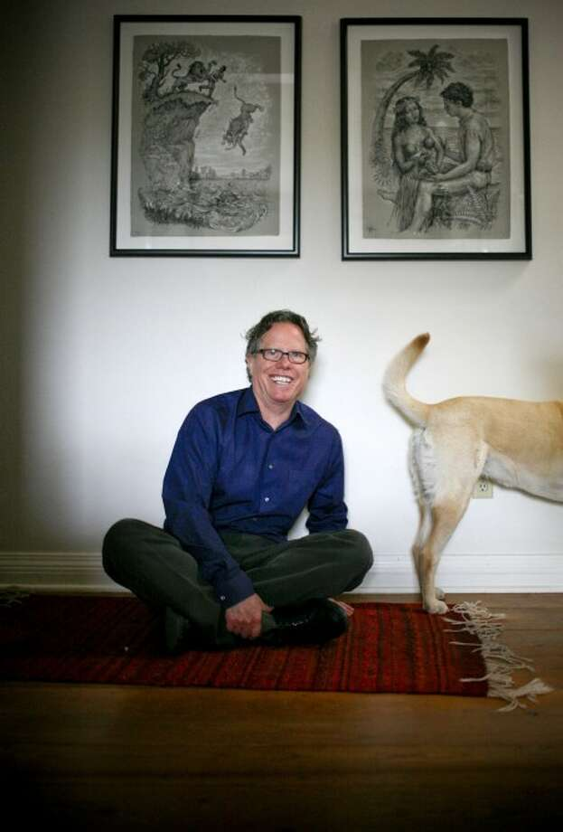 """Jack Handey, author of """"What I''d Say to Martians"""" and """"Deep Thoughts,"""" poses with his dog Ruby at his Santa Fe, N.M. home. (AP Photo/Craig Fritz)"""
