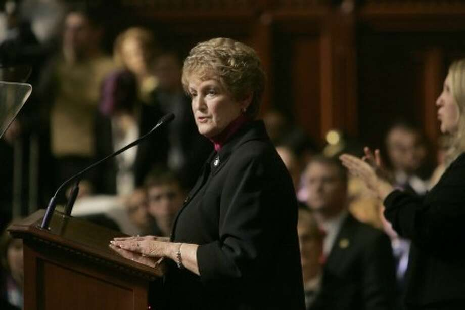 Connecticut Gov. M. Jodi Rell delivers her budget message to a joint session of the Connecticut General Assembly at the state Capitol in Hartford, Conn., Wednesday, Feb. 4, 2009. Rell said that there will be deep cuts in the budget, but that she is proposing no new taxes to help meet a projected deficit. (AP Photo/Bob Child)
