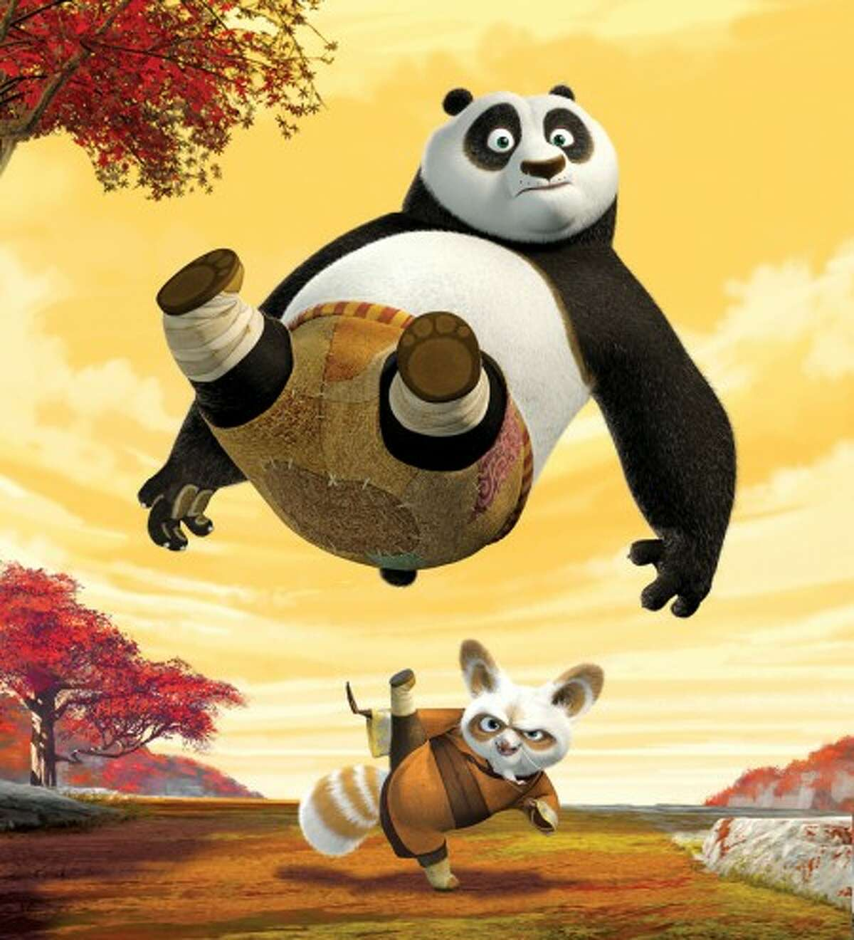 0803412 (BC-ENW-SUMMER) Unexpectedly chosen to fulfill an ancient prophecy and train in the art of Kung Fu, giant panda Po (above, JACK BLACK) begins his study under Master Shifu (below, DUSTIN HOFFMAN), the trainer of the legendary Furious Five, in DreamWorks Animation
