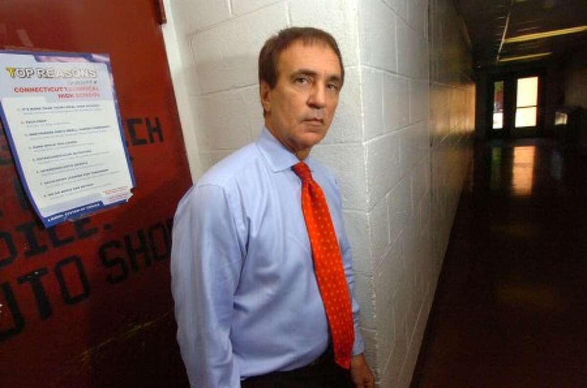Photo/ Alex von Kleydorff. New Wright Tech Principal Joe LaVorgna stands in the hallway of his new workplace.
