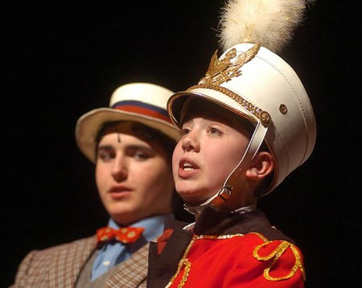 Photo/Alex von Kleydorff. Danny Ward as Harold Hill in The Music Man.