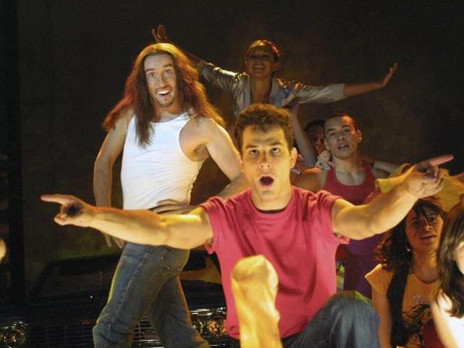 "Steve Coogan, left, and Skylar Astin perform in a scene from ""Hamlet 2."" (AP Photo/Focus Features, Cathy Kanavy)"