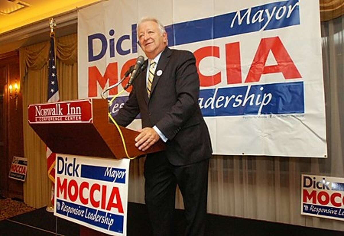 Norwalk Mayor Dick Moccia gives his acceptance speech after election results show him to be elected to another term at Norwalk Innn Tuesday night. Hour photo / Erik Trautmann