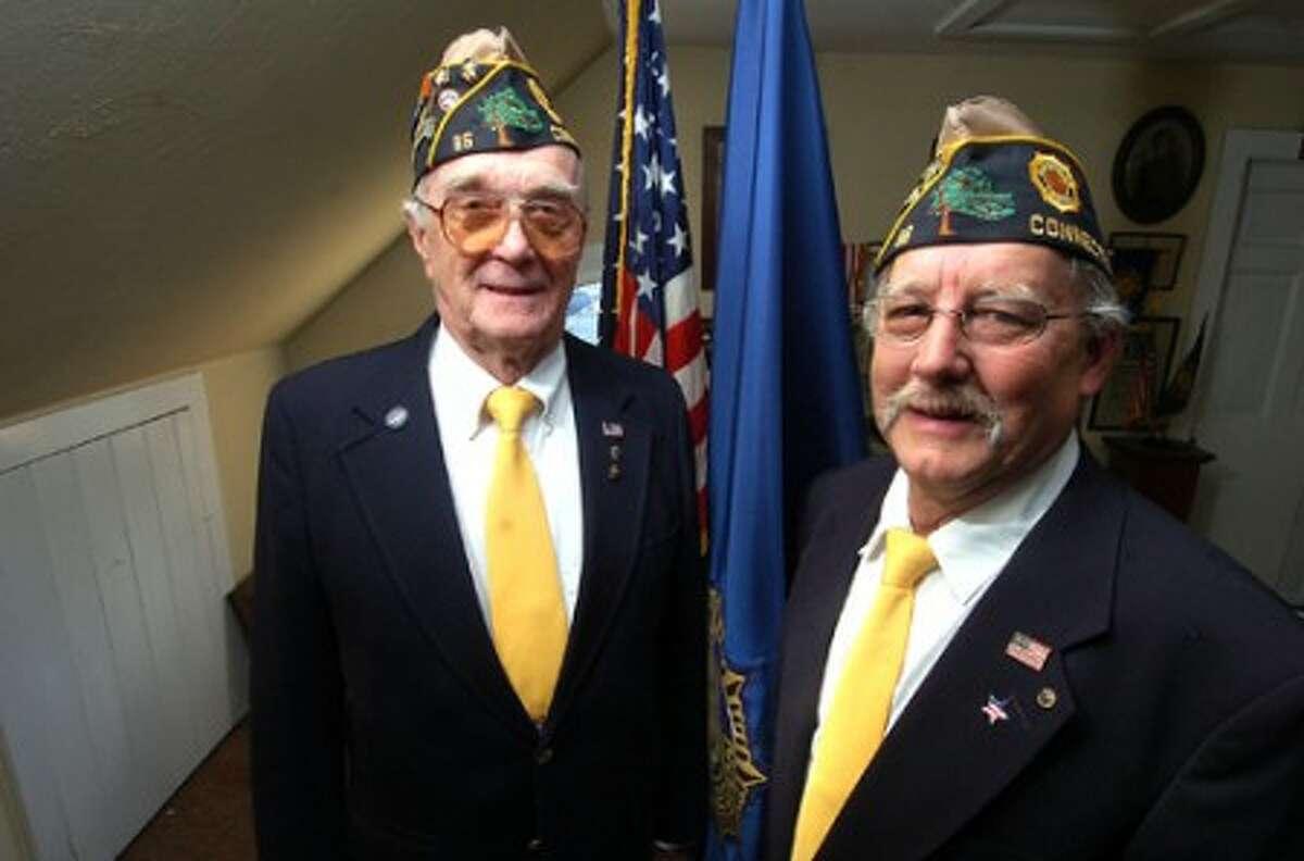 Photo/Alex von Kleydorff. l-r Bing Ventres past Commander American legion Post 86 in Wilton with Don Hazzard the new Commander.