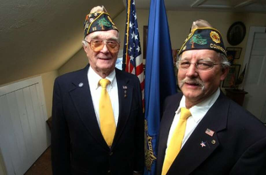 Photo/Alex von Kleydorff. l-r Bing Ventres past Commander American legion Post 86 in Wilton with Don Hazzard the new Commander.