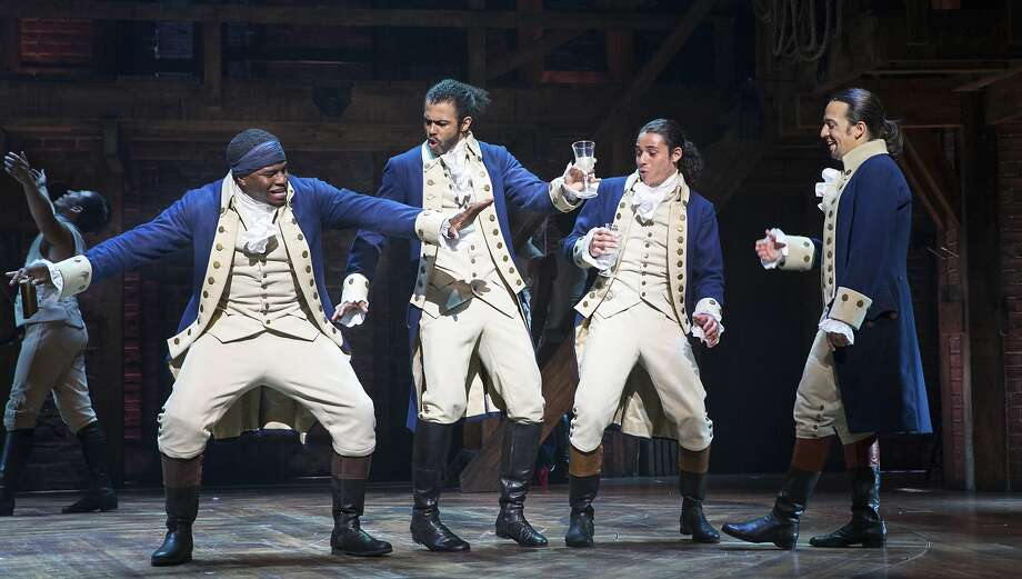 Okieriete Onaodowan, Daveed Diggs, Anthony Ramos and Lin-Manuel Miranda in 'Hamilton' at the Richard Rodgers Theater in New York, July 11, 2015. In its move to Broadway, the  show about America's founding fathers is proof that the musical is not only surviving but evolving in ways that should allow it to thrive. (Sara Krulwich/The New York Times) Photo: SARA KRULWICH, NYT
