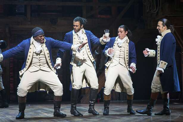 Okieriete Onaodowan, Daveed Diggs, Anthony Ramos and Lin-Manuel Miranda in �Hamilton� at the Richard Rodgers Theater in New York, July 11, 2015. In its move to Broadway, the  show about America�s founding fathers is proof that the musical is not only surviving but evolving in ways that should allow it to thrive. (Sara Krulwich/The New York Times)