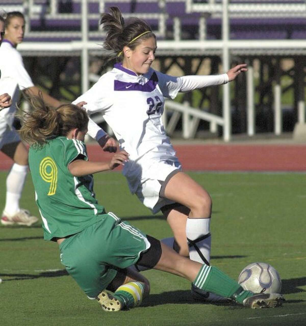 Photo by John Nash - Westhill''s Tessa Dunster, top, scored three goals to lead her team to the City Championship on Tuesday.