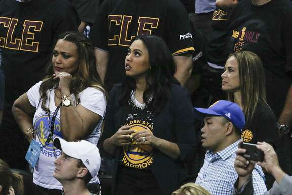 Ayesha Curry watches Game 6 of the NBA Finals at The Quicken Loans Arena on Thursday, June 16, 2016 in Cleveland, Ohio.