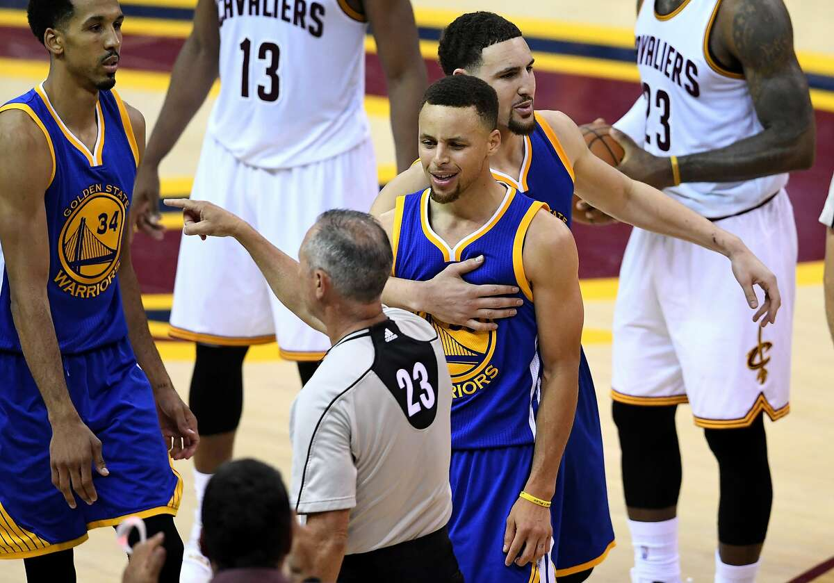 Stephen Curry #30 of the Golden State Warriors reacts as he is ejected from the game during the fourth quarter against the Cleveland Cavaliers in Game 6 of the 2016 NBA Finals at Quicken Loans Arena on June 16, 2016 in Cleveland, Ohio.