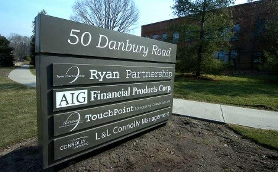 Photo/Alex von Kleydorff. AIG Financial Products Corp. sign at 50 Danbury Rd Wilton.