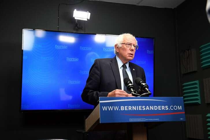 Presidential candidate, Bernie Sanders prepares to speak for a video to supporters at Polaris Mediaworks on Thursday June 16, 2016 in Burlington, VT. (Matt McClain/The Washington Post via AP, Pool)