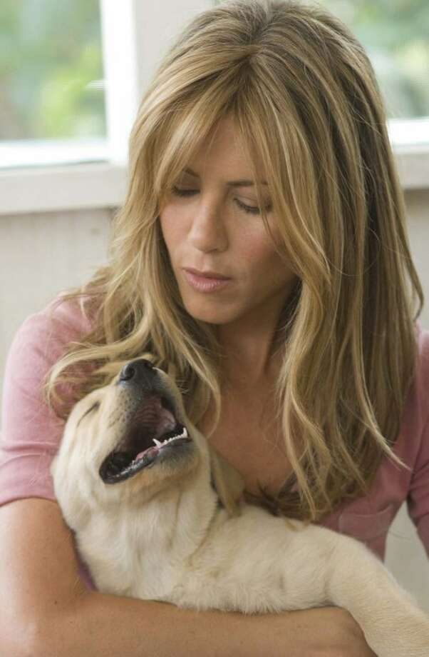 "Jenny (Jennifer Aniston) keeps on eye on a sleepy Marley in ""Marley and Me."" (ENW/BARRY WETCHER)"