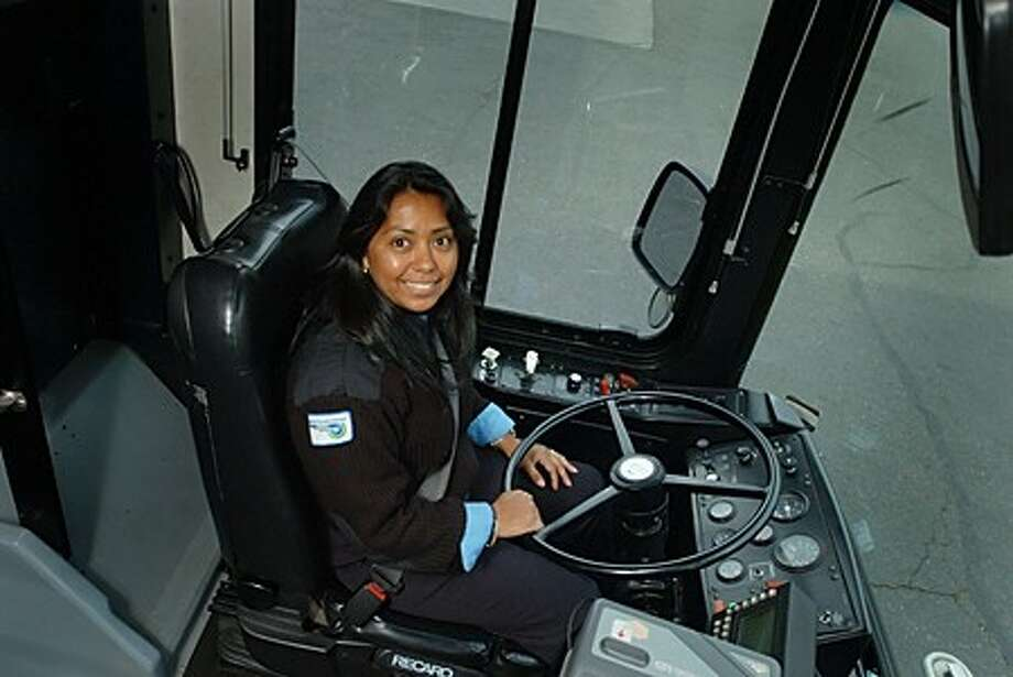 Carmen Montalvan is a bus driver for the Norwalk Transit District. Hour photo / Erik Trautmann