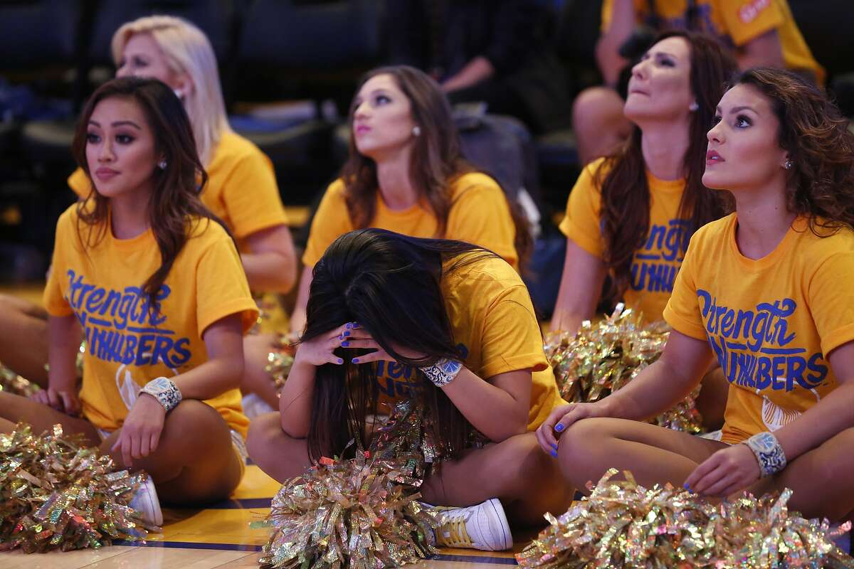 The Warrior's dancers react as Stephen Curry is ejected from the game during the end of Game 6 of the NBA Finals between the Warriors and the Cavaliers during the Warriors Official Watch Party June 16, 2016 in the Oracle Arena Oakland, Calif.