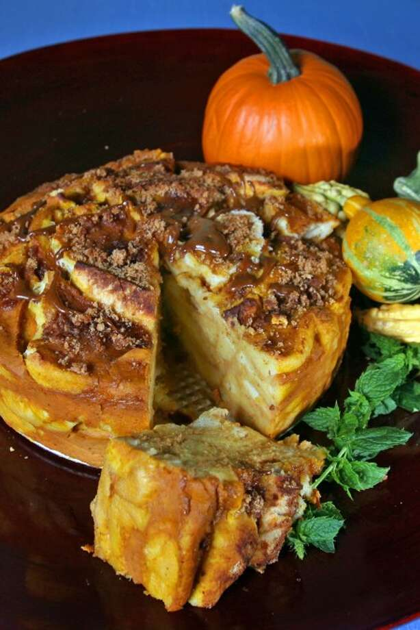 Baked Pumpkin Brulee French toast Pumpkin Roll. (MCT)