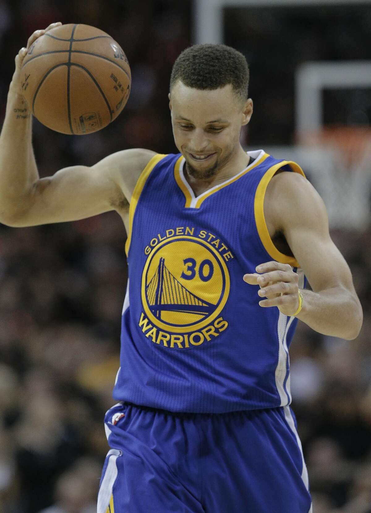 Golden State Warriors' Stephen Curry reacts after being called for his fifth foul during Game 6 of the NBA Finals at The Quicken Loans Arena on Thursday, June 16, 2016 in Cleveland, Ohio.