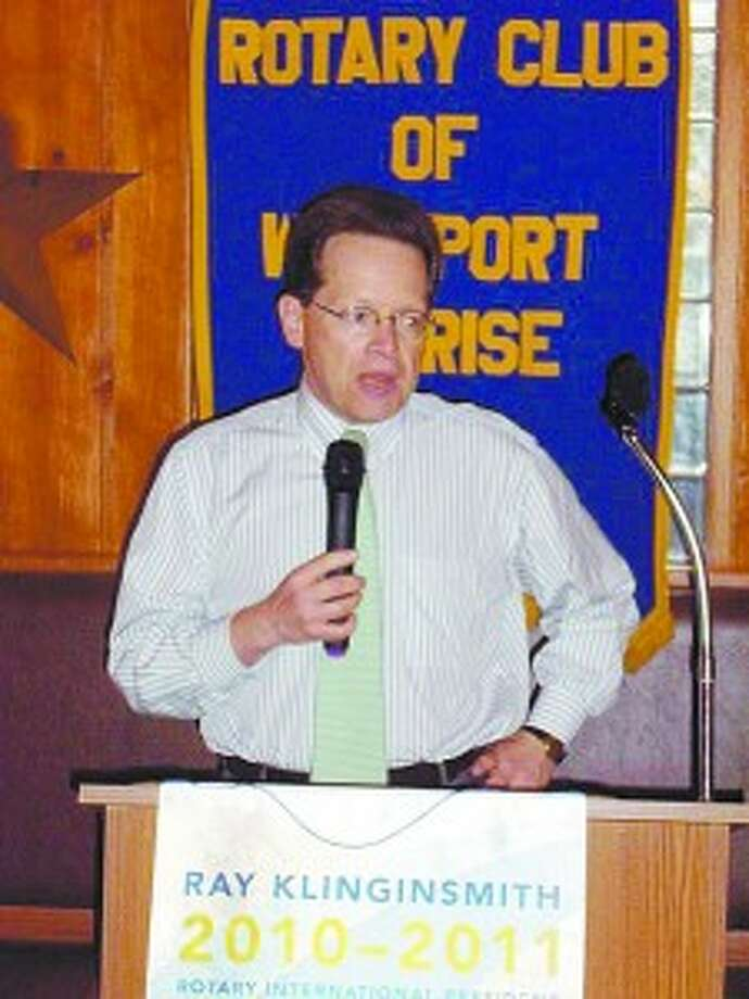 Levinson touts NCC to Westport Sunrise Rotary Club