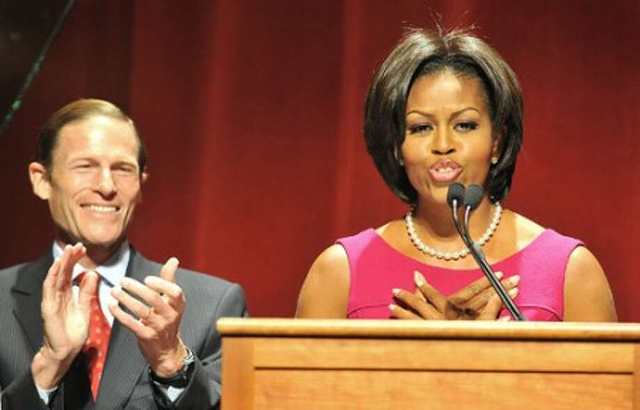 Photo/Alex von Kleydorff. First lady Michelle Obama speaks to a packed Palace Theater in Stamford on behalf of States Attorney General Richard Blumenthal who is running for Senate