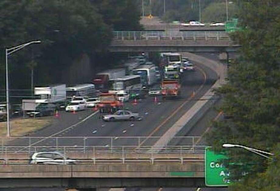 Truck rollover shuts down I-95 in Norwalk Saturday morning