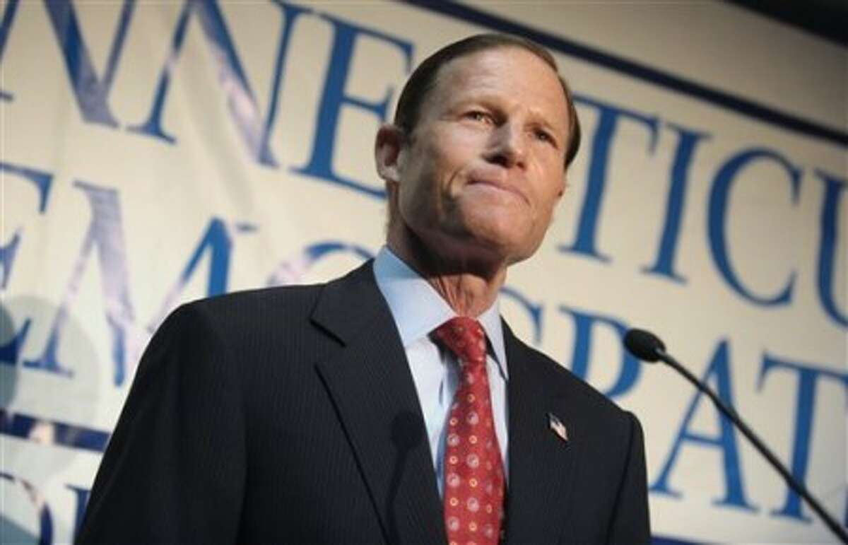 FILE - In this Jan. 6, 2010 file photo, Connecticut Attorney General Richard Blumenthal announces his candidacy for the U.S. Senate seat vacated by the retirement of fellow Democrat Christopher Dodd in Hartford, Conn. Blumenthal is defending himself against a New York Times report he misstated his military service in Vietnam. (AP Photo/Jessica Hill, File)