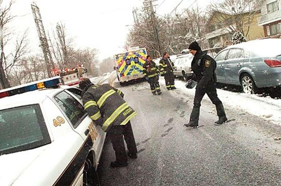 A pedestrian was struck by a car on Triangle street in Norwalk at around 8 a.m. Wednesday. HOUR PHOTO / MATTHEW VINCI