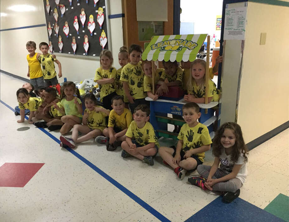 Elisabeth Larson's kindergarten class at Center Elementary School in Brookfield held a lemonade stand on Wednesday, June 15, 2016 to benefit the Brookfield Food Pantry. Photo: Contributed, Elisabeth Larson