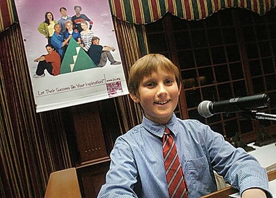 Cranbury Elementary School 5th grader Ryan Stelly is the guest speaker at the Junior Achievement of Southwest Connecticut dinner Wednesday night at the Italian Center in Stamford. hour photo/matthew vinci