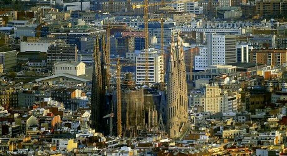 This photo taken Jan. 13, 2010 shows Antoni Gaudi''s Sagrada Familia church, an unfinished Barcelona landmark in Barcelona, Spain.(AP Photo/Manu Fernandez)
