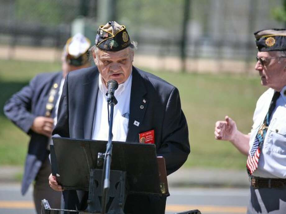 Leo Motyka speaks about the importance of the 4th of July at the American Legion Hall in Norwalk Sunday morning. Hour Photo / Danielle Robinson
