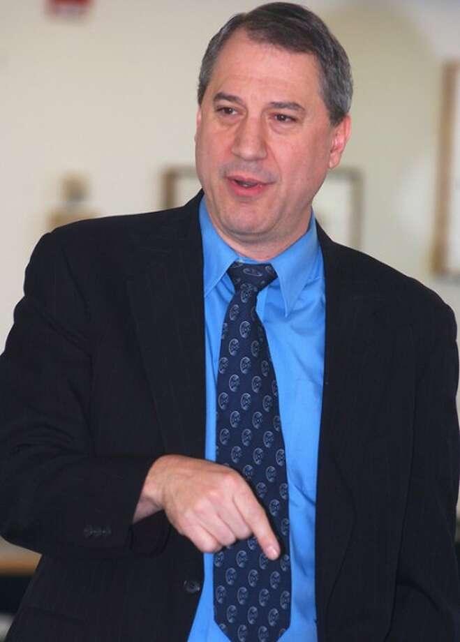 Photo/Alex von Kleydorff. Attorney Phil Berns speaks about Immigration Law during an ACLU forum at the Stamford Government Center on Sunday.
