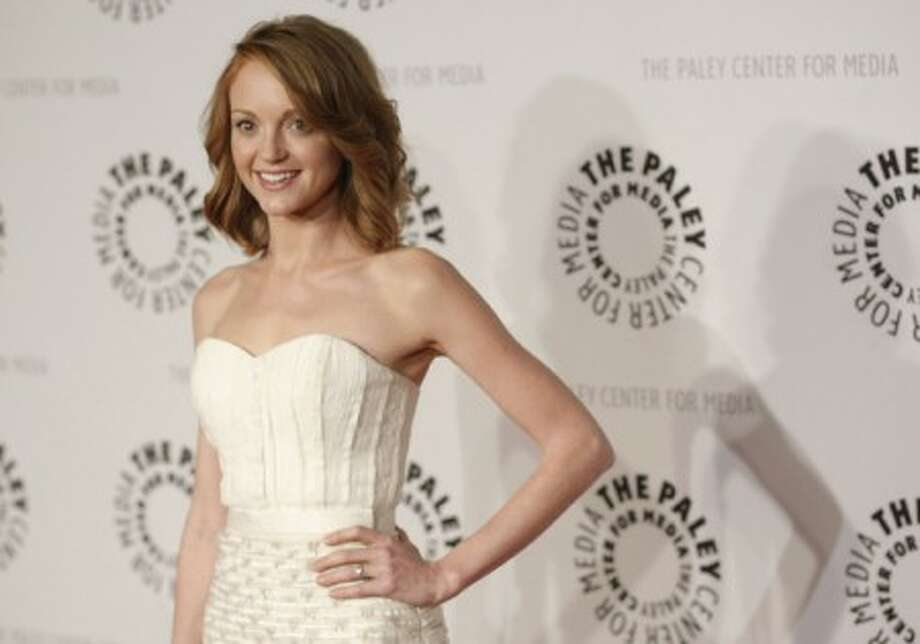 """Actress Jayma Mays arrives at the """"Glee"""" PaleyFest panel discussion in Beverly Hills, Calif. on Saturday, March 13, 2010. (AP Photo/Dan Steinberg)"""