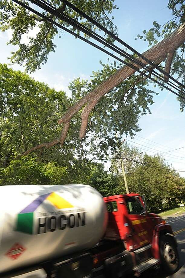 A long hanging tree limb over New Canaan Ave near Cornwall St rests on the utility wires and worries local residents. Hour photo / Erik Trautmann