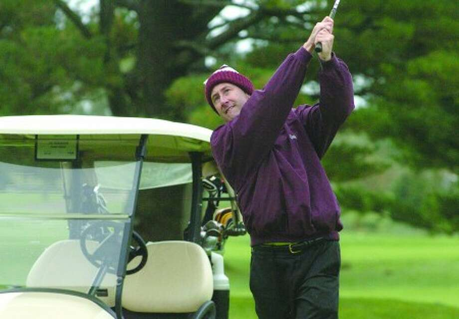 Peter Grant at the Jerry Courville Sr. Memorial Golf Tournament at shorehaven Golf Club Monday. hour photo/matthew vinci