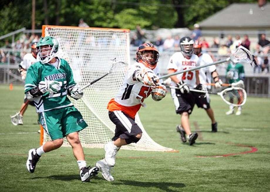 Norwalk''s #23 Nick Esposito and Stamford''s #55 John Tenca Hour Photo / Danielle Robinson