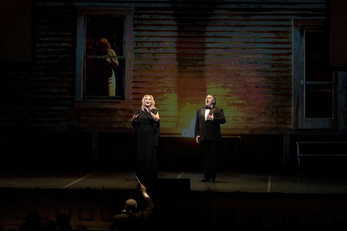 Karita Mattila and Simon O'Neill during the Celebrating David! Gala Concert at the War Memorial Opera House in San Francisco, Calif., Thursday June 16, 2016.