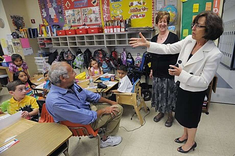 Norwalk Superintendent of Schools Susan Marks visits classrooms at Marvin Elementary School with principal Myrna Tortorello during the first day of school Wednesday. Hour photo / Erik Trautmann