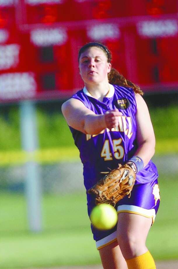 Westhill softball pitcher Jen Joseph delivers a pitch against Darien in the FCIAC Tournament semifinals. Joseph led the Vikings to a 2-1 win over the Blue Wave. Times photo/Matthew Vinci