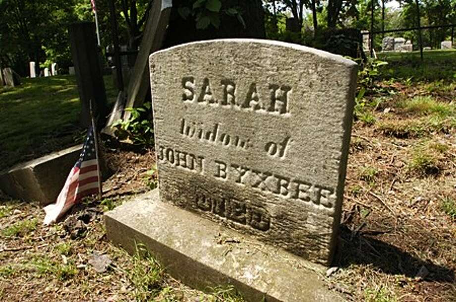 The grave of Sarah Byxbee at Pine Island Cemetery at Mathews Park in Norwalk. The Commission on Culture and Tourism has okayed the placement of Gallaher Estate at Cranbury Park and Pine Island Cemetery at Mathews Park on state Register of Historic Places. Hour photo / Erik Trautmann