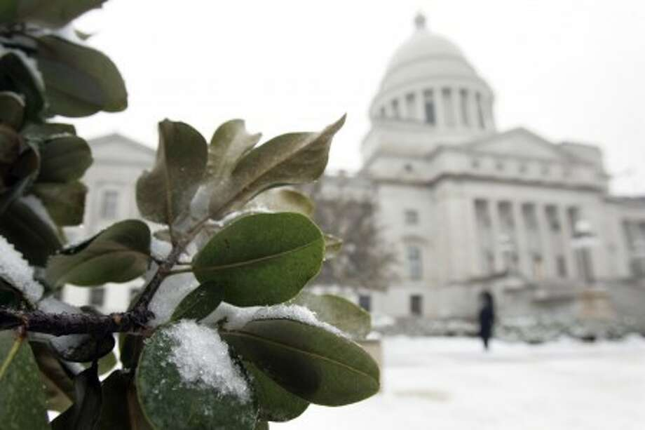 Snow and ice collect on magnolia tree leaves on the grounds of the Arkansas State Capitol in Little Rock, Ark., Monday, Feb. 8, 2010. (AP Photo/Danny Johnston)