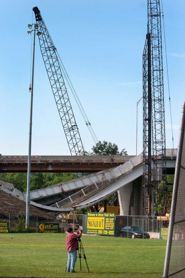 Portion of Naugatuck bridge collapses, worker injured