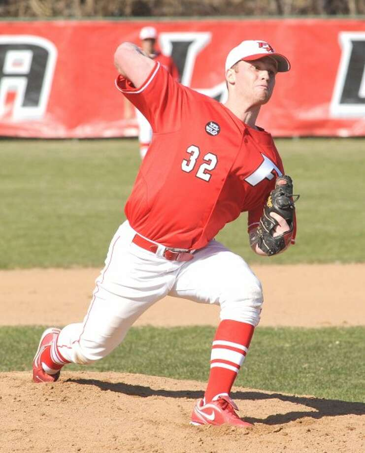 Fairfield University baseball pitcher and former Stamford High standout Gavin McCullough is about to throw a pitch during a recent game. Times photo/John Nash