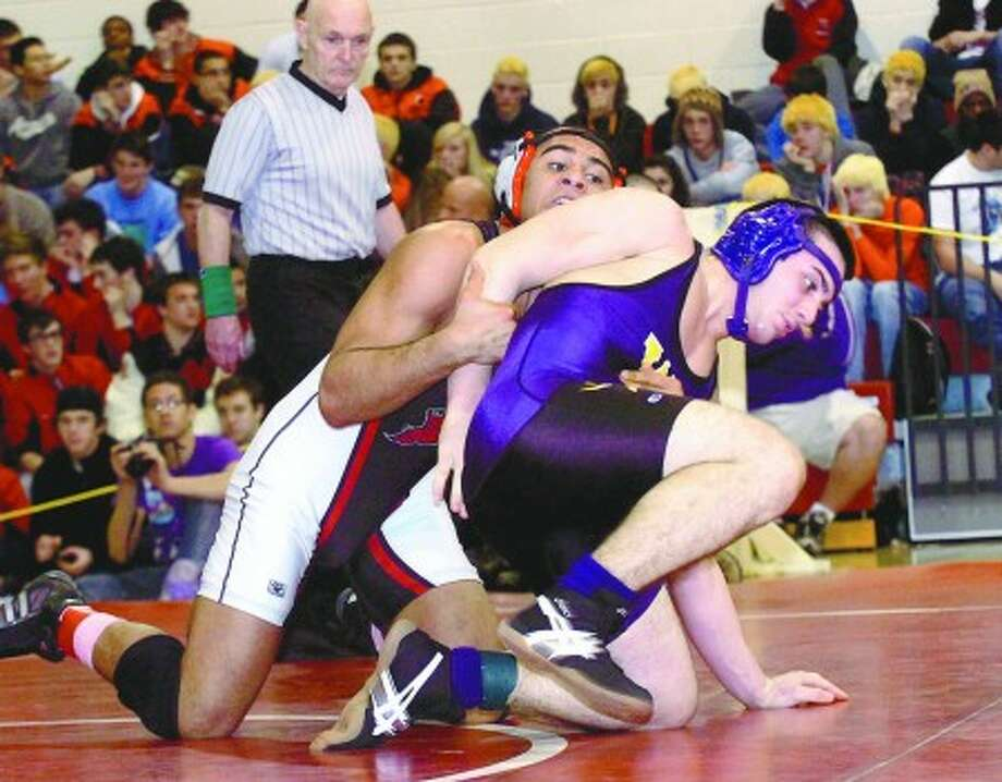 Westhill wrestler Cosmo Iadanza, right, went ''On the Record'' with The Stamford Times. Times photo/Erik Trautmann