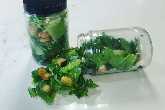 Cesar salads are served in a jar at the AT& Center.