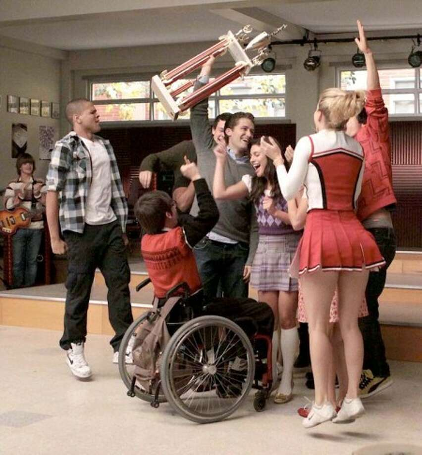 "New Directions celebrate their win at Sectionals on ""GLEE."" ENW photo"