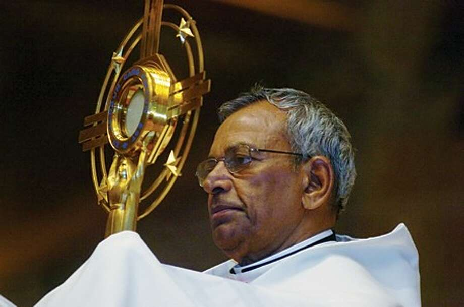 Most Reverend Gratian Mundadan, Bishop Emeritus of Bijnor, India, presiding over the 2010 Eucharistic Procession from St. Matthew Church on Sunday. hour photo/matthew vinci
