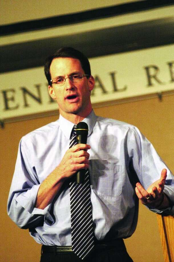 Congressman Jim Himes speaks at the UConn Stamford auditorium on Tuesday to discuss Afghanistan/hour photo matthew vinci